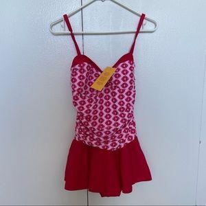 Other - One piece skirt swim suit medium new red